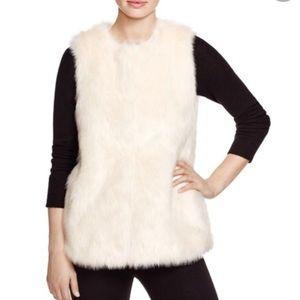 New Vince Camuto Ivory Faux Fur Vest